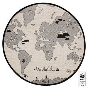 Oyoy Tæppe - The World Tæppe I Hvid/sort