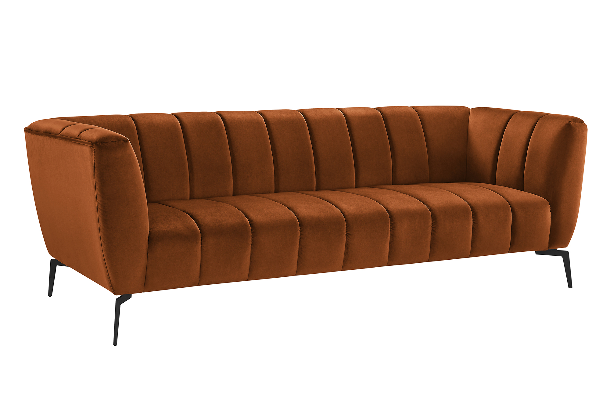 Pavia 3 Personers Sofa I Bronzefarvet Stof Med Sorte Metalben